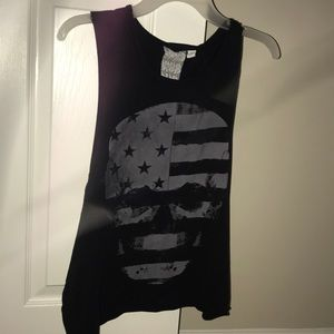 Black and Gray American Flag Skull Tank